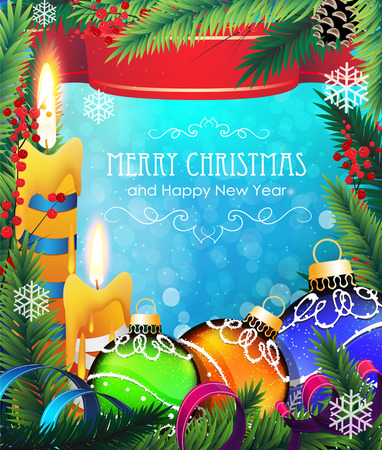 Candles, berries, Christmas ornaments with ribbon and fir tree branches on blue background Vector