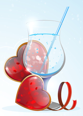 stirring: Glass with water or other transparent drink and Valentines hearts on a blue background