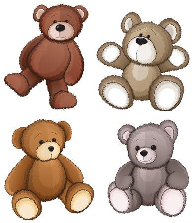 oso caricatura: Cuatro osos de peluche sobre un fondo blanco