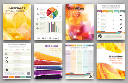 promotions: Vector set of flyer and brochure design templates.  Business technology internet and networking  abstract  backgrounds.  Concept backgrounds for web and mobile applications.