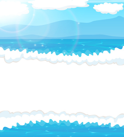 foaming: Foaming  waves and blue sky with clouds. Seascape background Illustration