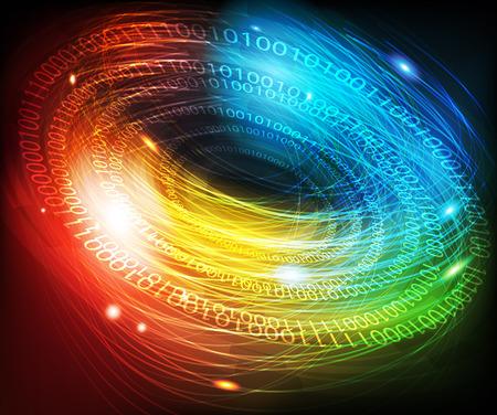 codigo binario: Fondo digital abstracto brillante con un código binario Vectores