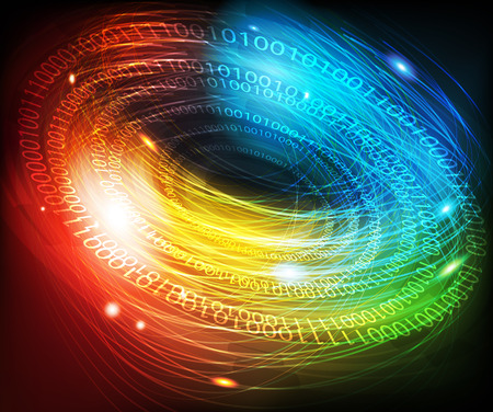 Abstract glowing digital background with a binary code Illustration
