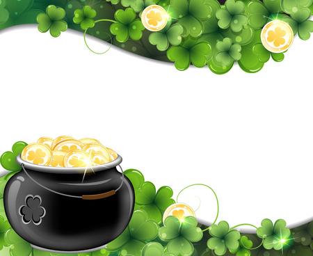leprechaun background: Leprechaun pot on clover and gold coins. St. Patrick