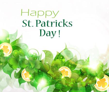 Leprechaun gold coins on clover background.  St. Patrick