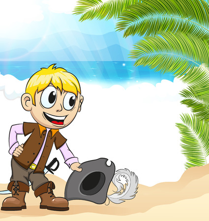 Good natured pirate on a desert island. Summer vacation background