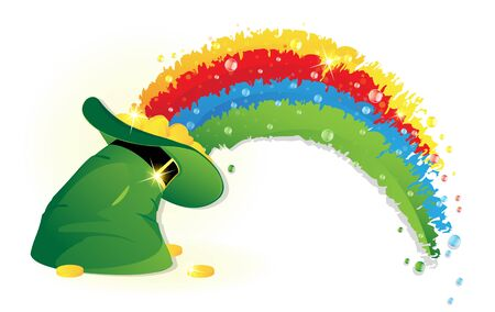 gold buckle: Rainbow and  Leprechaun hat with gold coins  on white background. St. Patricks Day symbol