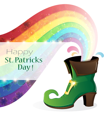patricks day: Rainbow and Leprechaun shoe on white background. St. Patricks Day abstract symbol Illustration