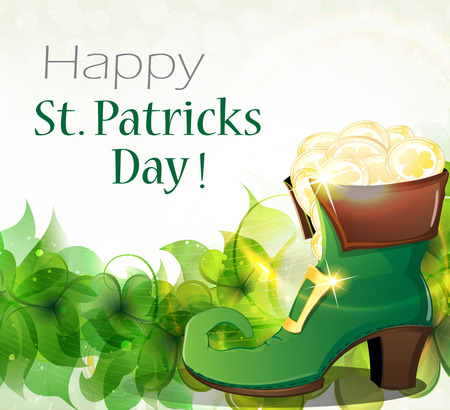 leprechaun: Leprechaun shoe on clover and gold coins. St. Patricks Day background. Illustration