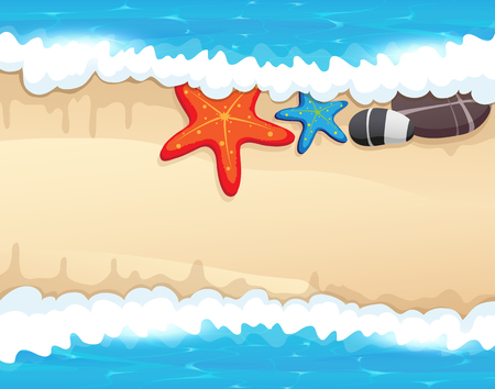 Sandy coast and foaming waves with starfishes, and sea pebble Illustration