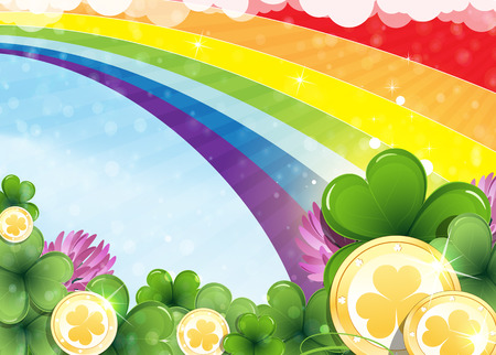 irish landscape: Rainbow, clover and gold coins on abstract spring background. St. Patricks Day abstract background Illustration