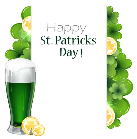 Glass of green beer and gold coins on clover background with  place for text.  