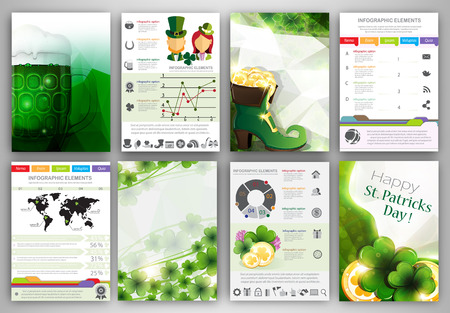St. Patricks Day vector set of flyer and brochure design templates.  Business technology internet and networking  abstract  backgrounds.  Concept backgrounds for web and mobile applications. Vector