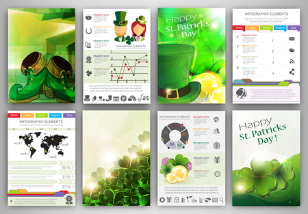 shamrock: St. Patricks Day vector set of flyer and brochure design templates.  Business technology internet and networking  abstract  backgrounds.  Concept backgrounds for web and mobile applications.