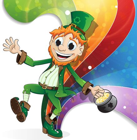 leprechaun hat: Leprechaun with a pot of gold on rainbow background. St. Patricks Day background