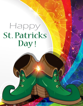 leprechaun: Leprechaun shoes on rainbow background. St. Patricks Day abstract background Illustration