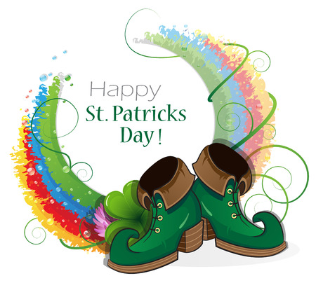 patricks day: Rainbow, clover and  Leprechaun shoes on white background. St. Patricks Day abstract background