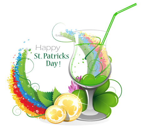 rainbow cocktail: Gold coins and leprechaun cocktail on rainbow background with round place for text.  St. Patricks Day background.