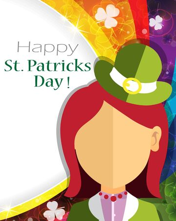 patricks day: Leprechaun girl icon on rainbow background. St. Patricks Day abstract background
