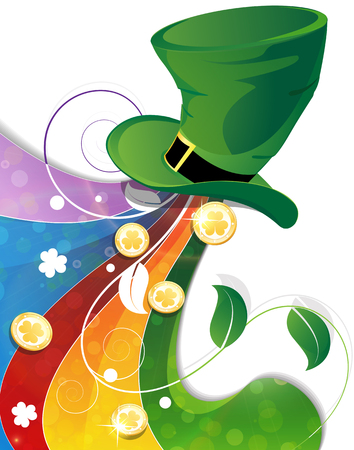 leprechaun background: Rainbow and  Leprechaun hat with gold coins  on white background. St. Patricks Day background Illustration