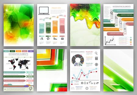 チラシやパンフレットのデザイン テンプレートの概念ベクトルを設定します。 ビジネス技術インターネットとネットワー キング抽象的な背景。創  イラスト・ベクター素材