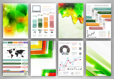 Concept vector set of flyer and brochure design templates.  Business technology internet and networking  abstract  backgrounds. Creative icons and backgrounds for web and mobile applications.