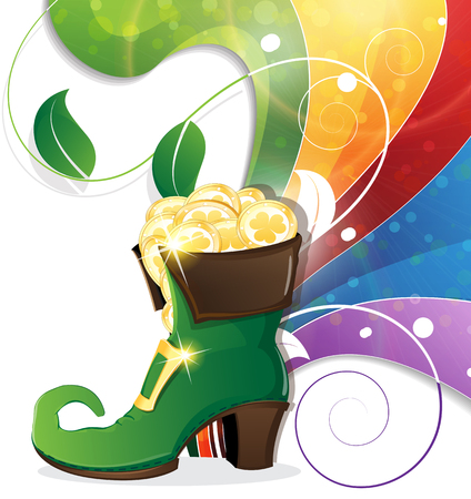 Leprechaun shoe with gold coins on rainbow background. St. Patrick