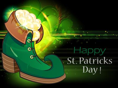 leprechaun background: Leprechaun shoe with gold coins and magic clover. St. Patrick