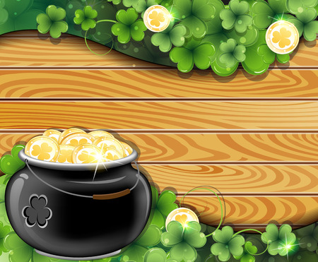 Leprechaun pot with gold coins and clover on wooden background. St. Patrick