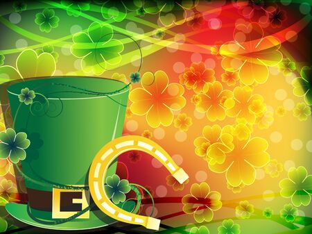 Leprechaun hat and horseshoe on abstract clover background. 