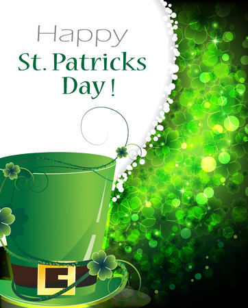 Leprechaun hat on abstract clover background. St. Patrick's Day background Illustration