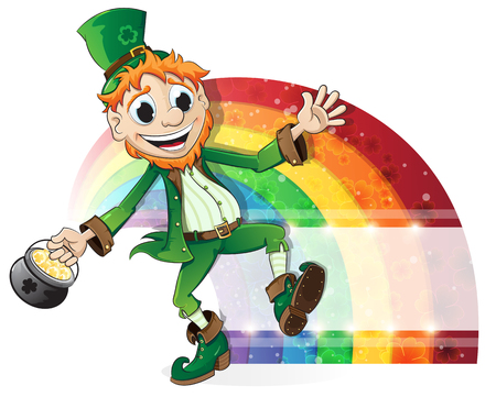 smiling leprechaun holding a pot of gold royalty free cliparts    leprechaun   a pot of gold on rainbow background  st  patricks day background vector