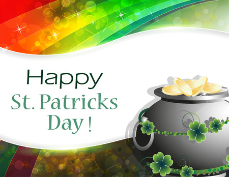 gold floral: Leprechaun pot with gold coins on rainbow background . St. Patricks Day background.