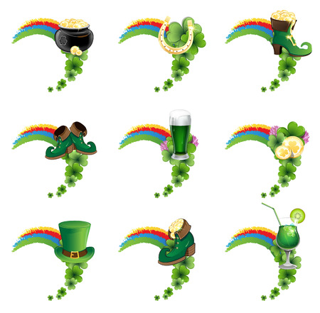 St. Patricks Day icon set. Holiday symbols with rainbow on a white background Vector