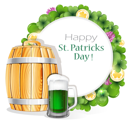 Glass of green beer and wooden barrel on clover background with round place for text.  St. Patricks Day background. Vector