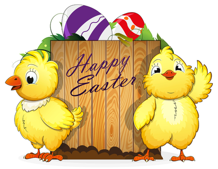 Two chickens and painted Easter eggs with leaves and wooden background Illustration