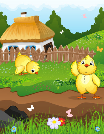 thatched: Little chicks on a green meadow in front of a farmhouse with a thatched roof. Rural landscape