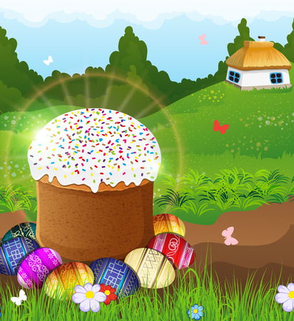 thatched: Easter bread and painted eggs on a green meadow. Country house with a thatched roof and a dense forest in the background