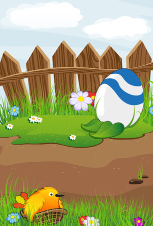 Bird and colorful Easter eggs near a wooden fence on a spring meadow Vector