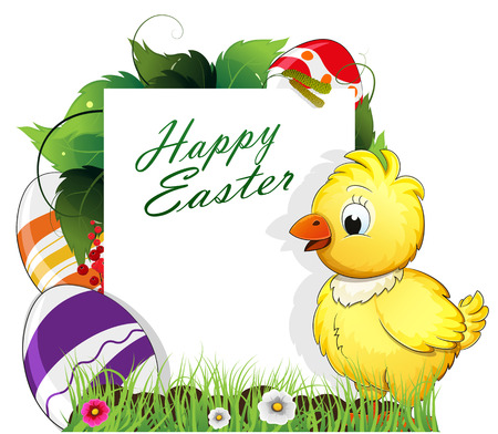 Little chicken with painted Easter eggs and dense foliage with white place for text Illustration