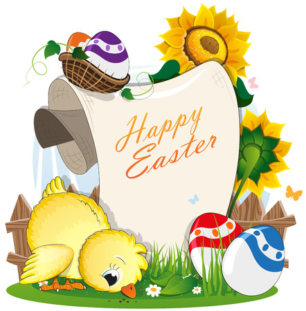 Little chicken and Easter eggs with a paper scroll on a green meadow with a wooden fence and flowers. Easter invitation Illustration