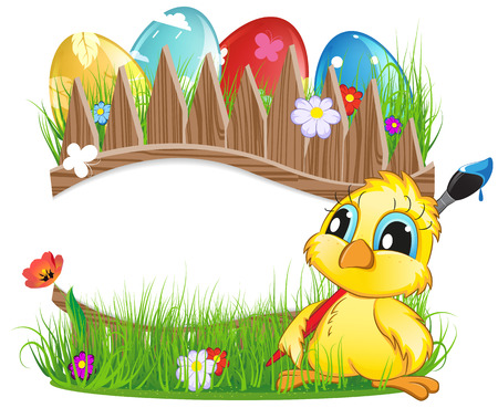 green day baby blue background: Chicken with brush and colorful Easter eggs in the meadow. Easter background