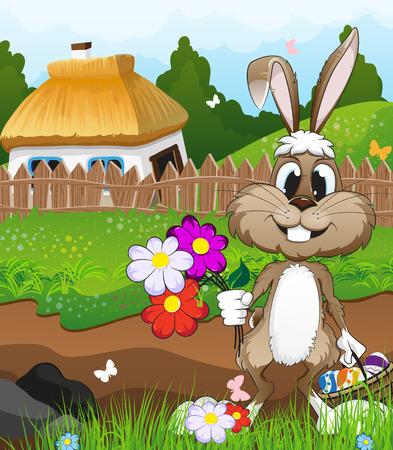 chaume: Lapin avec un panier d'?ufs et fleurs de P�ques dans une prairie pr�s de la ferme avec un toit de chaume. Paysage P�ques