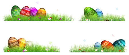 flower abstract: Colorful Easter eggs with spring flowers in the grass. Four Easter scenes on a white background