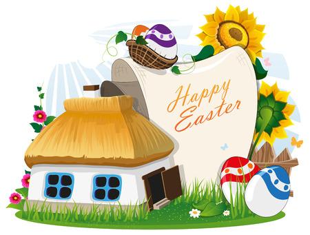 chaume: Petite maison rurale avec un toit de chaume et les oeufs de P�ques avec un rouleau de papier sur une prairie verte avec une cl�ture et des fleurs en bois. Invitation de P�ques