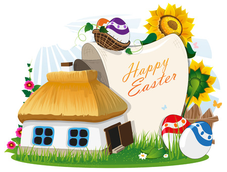 rural house: Small rural house with a thatched roof and Easter eggs with a paper scroll on a green meadow with a wooden fence and flowers. Easter invitation