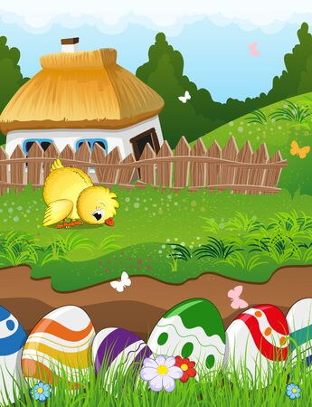thatched: Painted Easter eggs in the grass. Little chicken grazing in a meadow in front of a farmhouse with a thatched roof