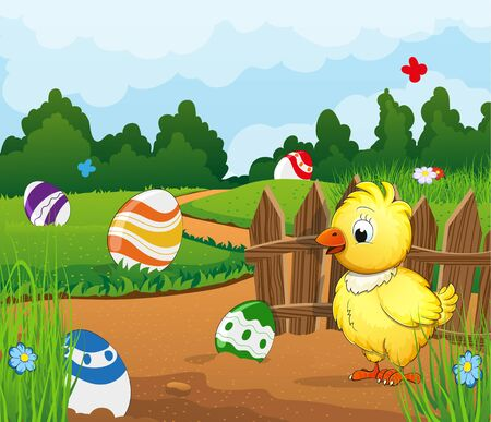 dense: Rural landscape with a small chicken and painted easter eggs on a green meadow. Dense forest and sky in the background. Easter scene