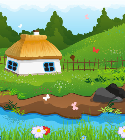 Country house with a thatched roof on the bank of a small river. Dense forest and blue sky in the background Ilustração