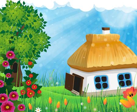 chaume: Paysage rural avec des arbres et une petite maison avec un toit de chaume dans la prairie